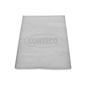 CORTECO  21651892 Filter, Innenraumluft Länge: 279mm, Breite: 218mm, Höhe: 17mm
