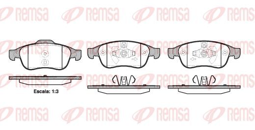 REMSA  1248.10 Bremsbelagsatz, Scheibenbremse Höhe 1: 64,7mm, Höhe 2: 59,4mm, Dicke/Stärke: 18mm