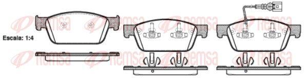 REMSA  1440.01 Bremsbelagsatz, Scheibenbremse Höhe: 75mm, Dicke/Stärke: 18mm