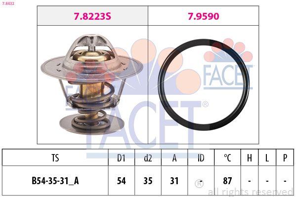 FACET  7.8432 Thermostat, coolant D1: 54mm, D2: 35mm