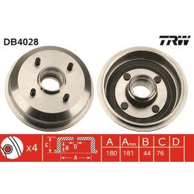 Brake Drum Drum Ø: 180,0mm, Outer Br. Sh. Diameter: 190mm with OEM Number 6 492 327