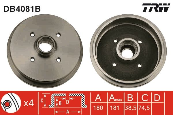 TRW  DB4081B Bremstrommel Trommel-Ø: 180mm, Br.Tr.Durchmesser außen: 190mm