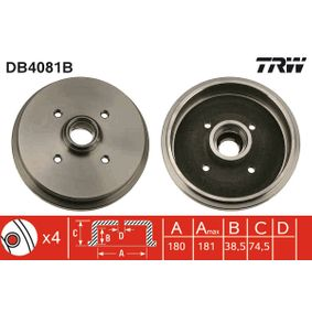 Bremstrommel Trommel-Ø: 180, Br.Tr.Durchmesser außen: 190mm mit OEM-Nummer 171 501 615