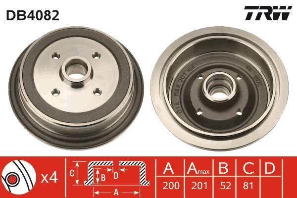 Bremstrommeln DB4082 TRW DB4082 in Original Qualität