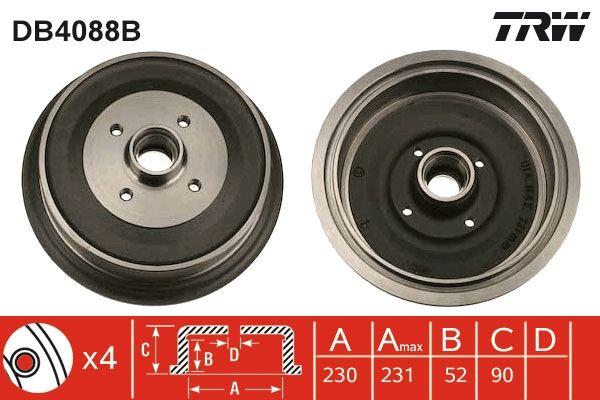 TRW  DB4088B Bremstrommel Trommel-Ø: 230,0mm, Br.Tr.Durchmesser außen: 242mm
