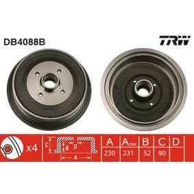 Bremstrommel Trommel-Ø: 230,0mm, Br.Tr.Durchmesser außen: 242mm mit OEM-Nummer 147 501 615A
