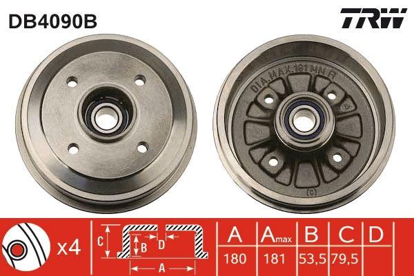 TRW  DB4090B Bremstrommel Trommel-Ø: 180mm, Br.Tr.Durchmesser außen: 194mm