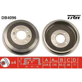 Bremstrommel Trommel-Ø: 228,5mm, Br.Tr.Durchmesser außen: 253mm mit OEM-Nummer 4247-24