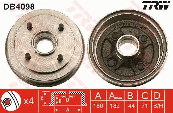 Bremstrommeln DB4098 TRW DB4098 in Original Qualität