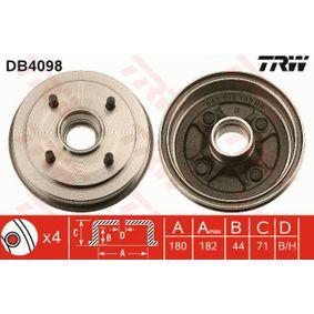 Bremstrommel Trommel-Ø: 180mm, Br.Tr.Durchmesser außen: 195mm mit OEM-Nummer MB242007