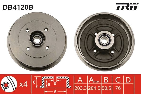 TRW  DB4120B Bremstrommel Trommel-Ø: 203,3mm