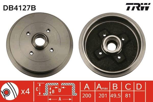 TRW  DB4127B Bremstrommel Trommel-Ø: 200mm