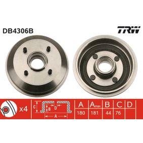 Brake Drum Drum Ø: 180mm with OEM Number 4034886
