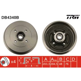 TRW  DB4340B Bremstrommel Trommel-Ø: 203,3