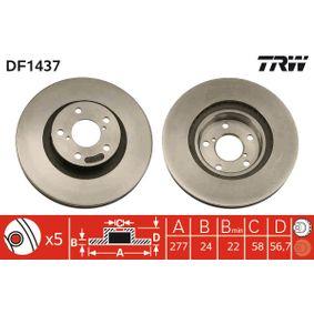 Bremsscheibe Bremsscheibendicke: 24mm, Lochanzahl: 5, Ø: 277mm mit OEM-Nummer 26300-FE010