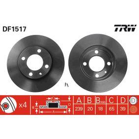 TRW Bremsscheibe DF1517 für AUDI 80 (81, 85, B2) 1.8 GTE quattro (85Q) ab Baujahr 03.1985, 110 PS