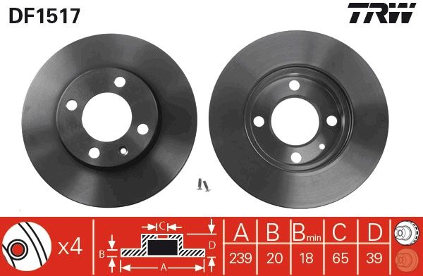 Bremsscheiben DF1517 TRW DF1517 in Original Qualität