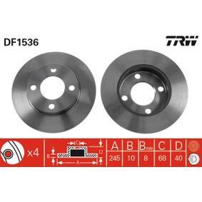 TRW Bremsscheibe DF1536 für AUDI COUPE (89, 8B) 2.3 quattro ab Baujahr 05.1990, 134 PS
