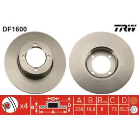 Bremsscheibe Bremsscheibendicke: 10,9mm, Lochanzahl: 4, Ø: 238mm mit OEM-Nummer 569018