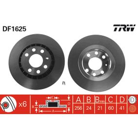 Bremsscheibe Bremsscheibendicke: 24mm, Lochanzahl: 6, Ø: 256mm mit OEM-Nummer 9025-0546