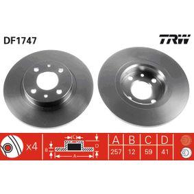 TRW спирачен диск (DF1747) за с ОЕМ-номер 60808872