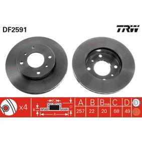 Bremsscheibe Bremsscheibendicke: 22mm, Lochanzahl: 4, Ø: 257mm mit OEM-Nummer 4020 671 E06