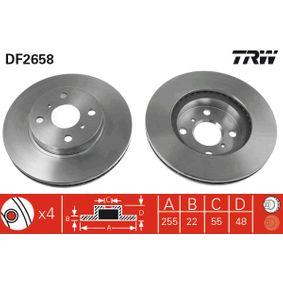 Bremsscheibe Bremsscheibendicke: 22mm, Lochanzahl: 4, Ø: 255,5mm mit OEM-Nummer 4351212550