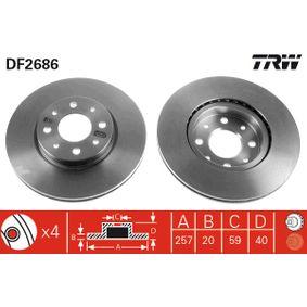Bremsscheibe Bremsscheibendicke: 20mm, Lochanzahl: 4, Ø: 257mm mit OEM-Nummer 5 174 912 4
