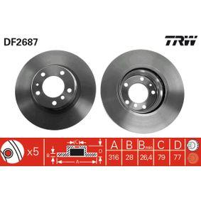 Bremsscheibe Bremsscheibendicke: 28mm, Lochanzahl: 5, Ø: 316mm mit OEM-Nummer 34116757752
