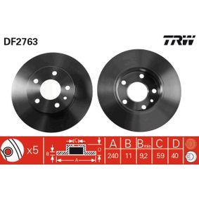 Bremsscheibe Bremsscheibendicke: 11mm, Lochanzahl: 5, Ø: 240,5mm mit OEM-Nummer 60670804