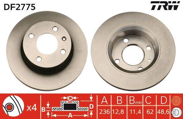 Bremsscheiben DF2775 TRW DF2775 in Original Qualität