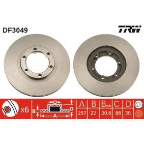 Bremsscheibe Bremsscheibendicke: 22mm, Lochanzahl: 6, Ø: 257mm mit OEM-Nummer 8.94372435.0