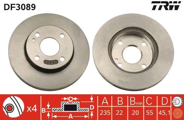 Bremsscheiben DF3089 TRW DF3089 in Original Qualität