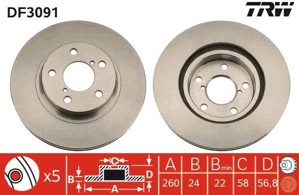 Bremsscheiben DF3091 TRW DF3091 in Original Qualität
