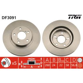 Bremsscheibe Bremsscheibendicke: 24mm, Lochanzahl: 5, Ø: 260mm mit OEM-Nummer 26300AE040