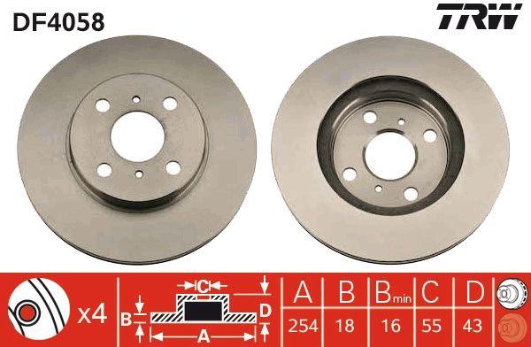 Disques de frein DF4058 TRW DF4058 originales de qualité