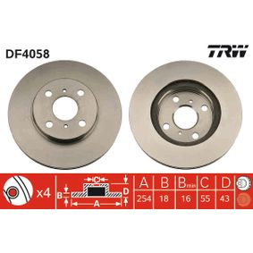 Disque de frein Epaisseur du disque de frein: 18mm, Nbre de trous: 4, Ø: 254mm avec OEM numéro 43512 16130
