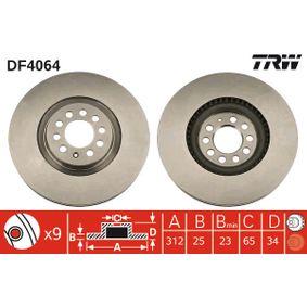 Bremsscheibe Bremsscheibendicke: 25mm, Lochanzahl: 9, Ø: 312mm mit OEM-Nummer 8N0 615 301A