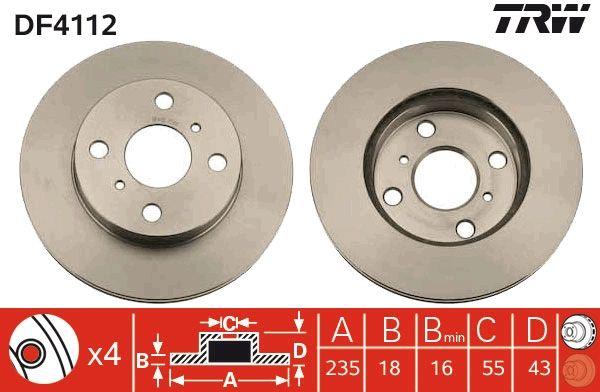 Bremsscheiben DF4112 TRW DF4112 in Original Qualität
