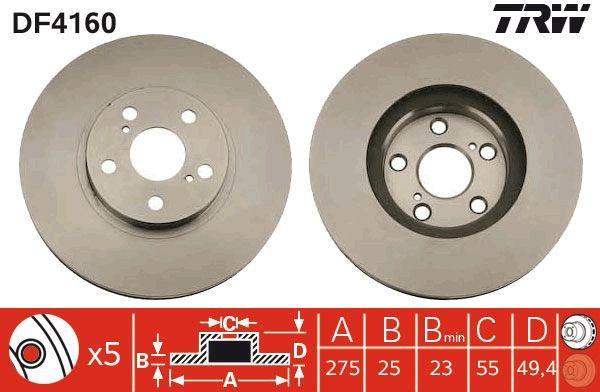 TRW  DF4160 Bremsscheibe Bremsscheibendicke: 25mm, Lochanzahl: 5, Ø: 275mm