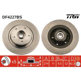 TRW  DF4227BS Disc frana Grosime disc frana: 11mm, Num. gauri: 5, Ř: 274mm