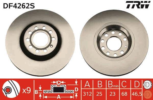 Bremsscheiben DF4262S TRW DF4262S in Original Qualität