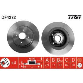 Bremsscheibe Bremsscheibendicke: 11mm, Lochanzahl: 4, Ø: 274mm mit OEM-Nummer 7701206327