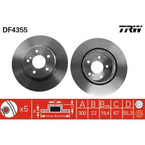 Bremsscheibe Bremsscheibendicke: 22mm, Lochanzahl: 5, Ø: 300mm mit OEM-Nummer 2104230812