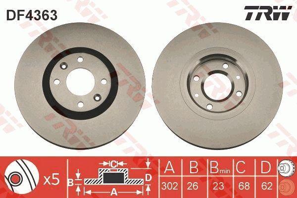TRW  DF4363 Disco de freno Espesor disco freno: 26mm, Núm. orificios: 4, Ø: 302mm