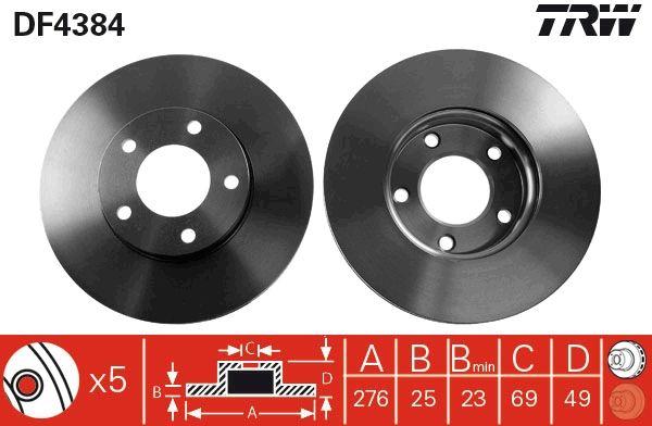 Brake Discs DF4384 TRW DF4384 original quality