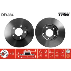 Brake Disc Brake Disc Thickness: 25mm, Num. of holes: 5, Ø: 278mm with OEM Number C24Y 33 25XC 9A