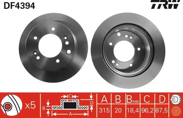 Bremsscheiben DF4394 TRW DF4394 in Original Qualität