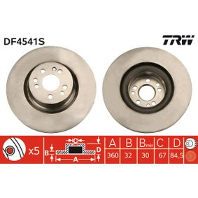 TRW  DF4541S Bremsscheibe Bremsscheibendicke: 32mm, Lochanzahl: 5, Ø: 360mm