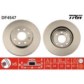 TRW  DF4547 Bremsscheibe Bremsscheibendicke: 24mm, Lochanzahl: 6, Ø: 256mm